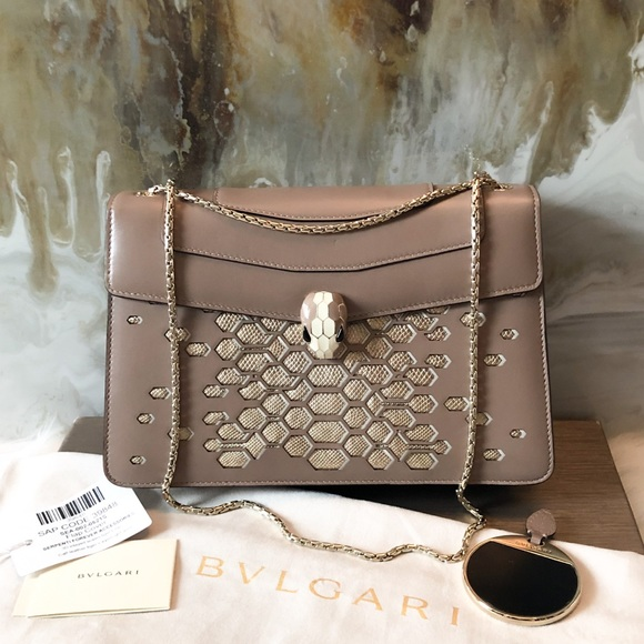 Bulgari Handbags - Bvlgari Serpenti Forever Gold Scale Tan Flap Bag